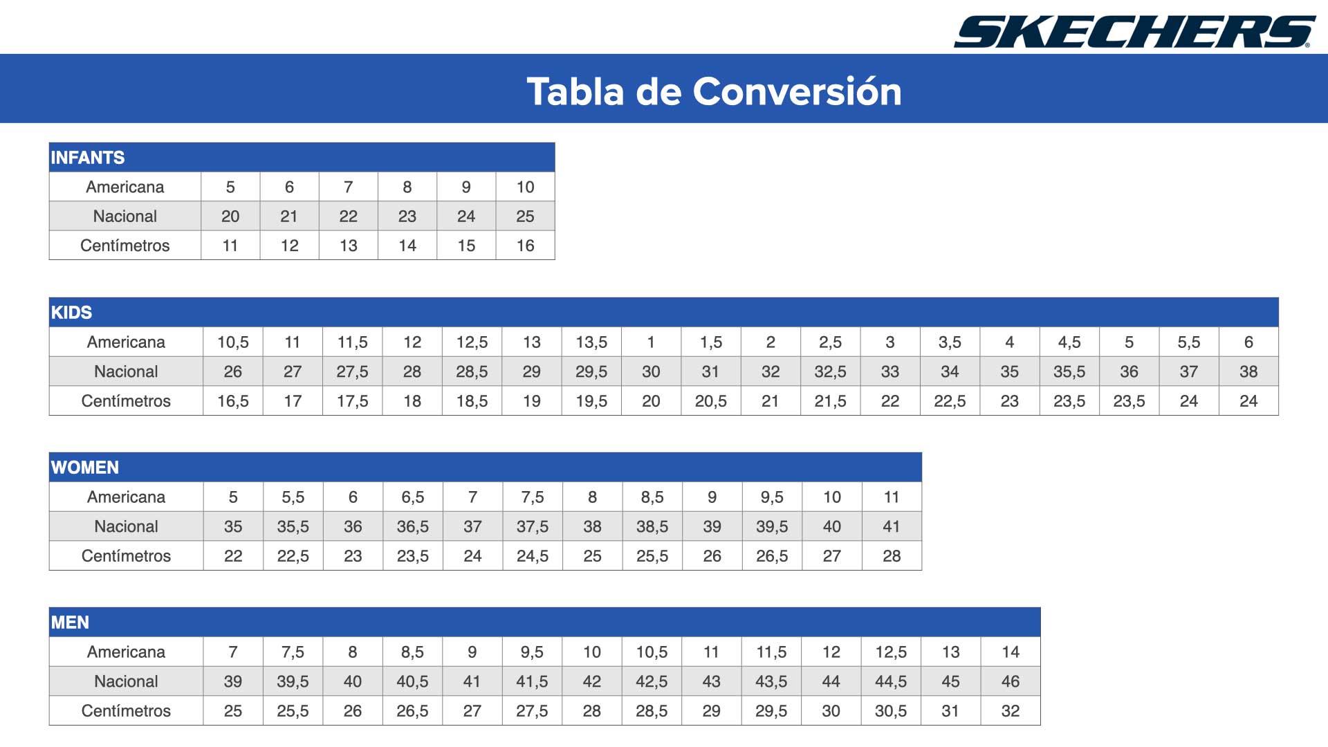 Suponer Vagabundo Tamano relativo  tabla de tallas de zapatos skechers off 52% - www.ncccc.gov.eg